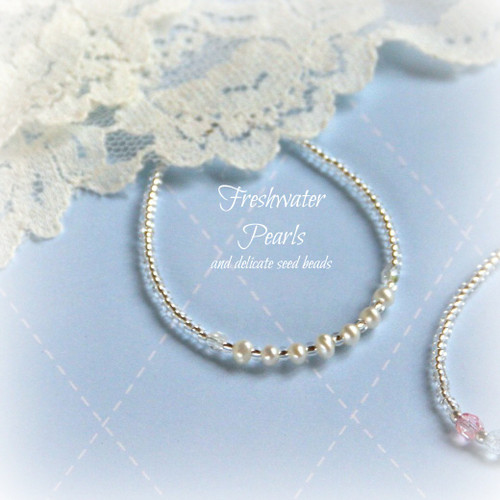 "STG-64  Freshwater Pearls and tiny seed beads Child 5"" Bracelet"