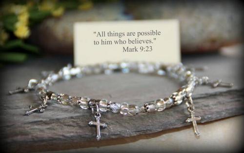 IN-225 Dainty Cross stretchy bracelet
