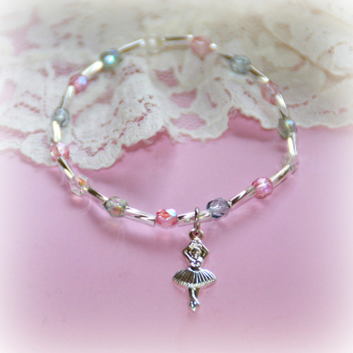 CJ-385  Ballerina Bracelet with Pastel Crystals 6""