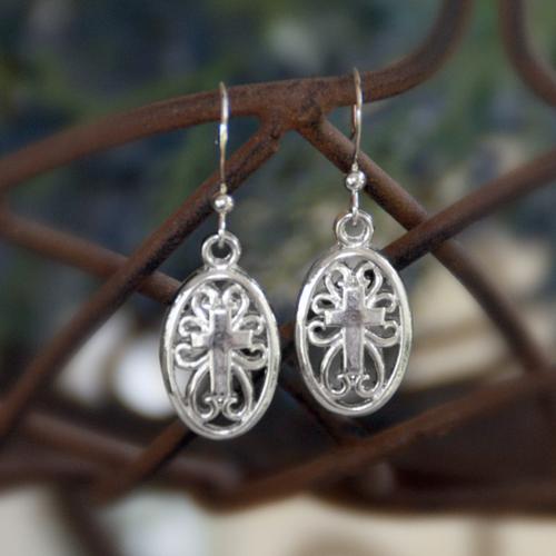 IN-5 Cross in Oval earrings