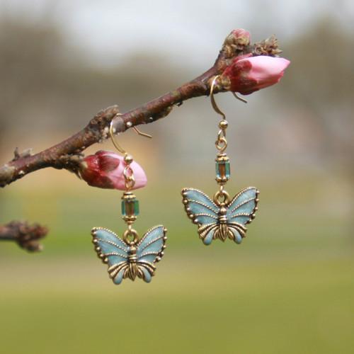 AER-18  Blue Enamel Butterfly Earrings