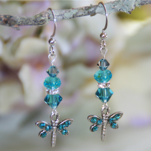 AER-23  Dragonfly Deep Aqua Swarovski Earrings