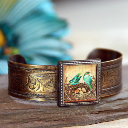 ART-113 Beautiful Birds in Nest Cuff Bracelet