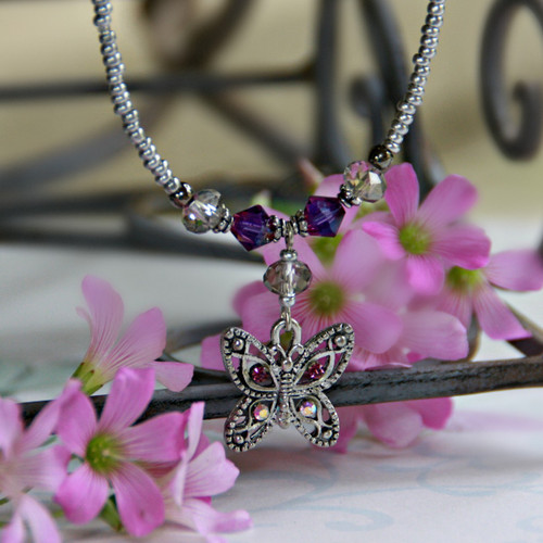 NCK-97 Butterfly Necklace with Lavender accents