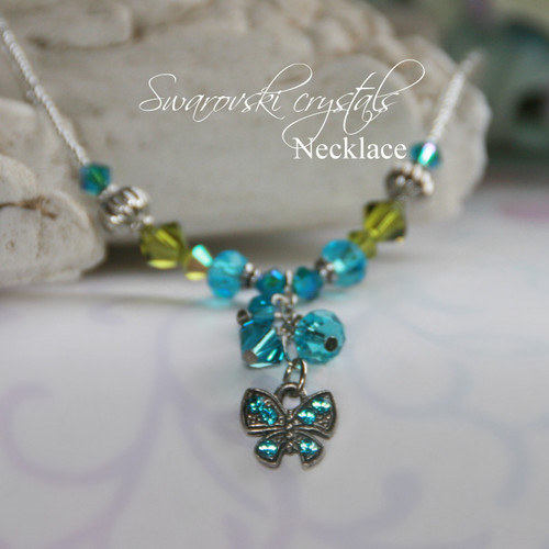 NCK-194BF Butterfly Necklace dripping with Swarovski Crystals