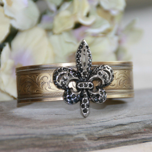 ART-117 Swarovski Crystal Fleur De Lis Cuff Bracelet