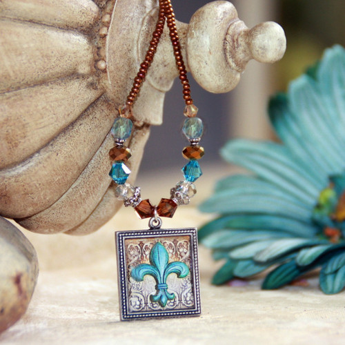 ART-208 Beautfiul Teal Fleur de Lis ART Collection Necklace