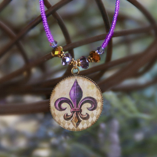 ART-223 Fleur de Lis ART Collection Necklace with Purple Seed Beads