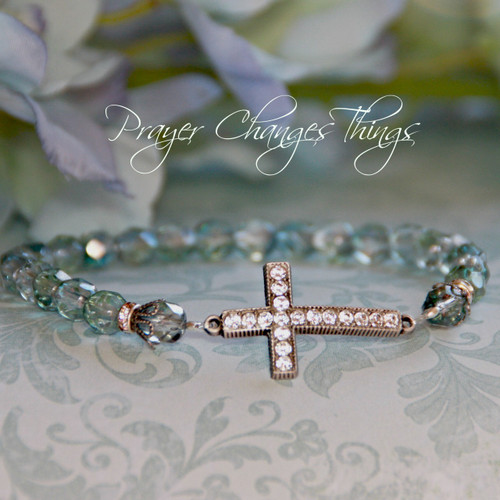 IN-104 Aquamarine Jeweled Cross Bracelet