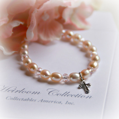 """CJ-312-CR Pale PInk Freshwater Pearl Bracelet with Cross charm 5"""""""