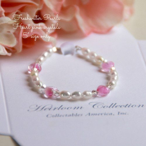 "CJ-462 Baby 5"" Freshwater Pearls and Pink Glass Hearts Bracelet"