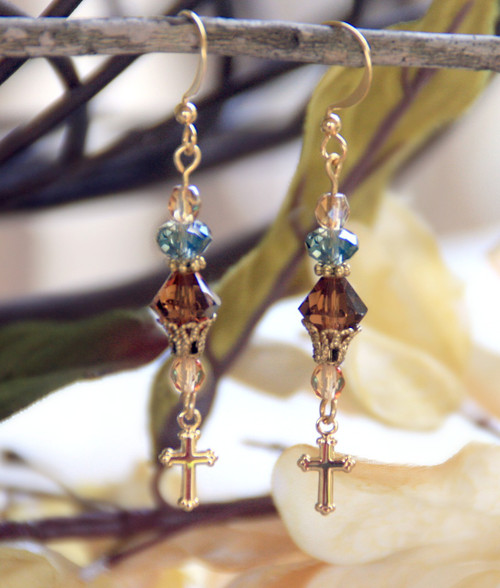 IN-706 Swarovski Crystals and Cross Drop Earrings
