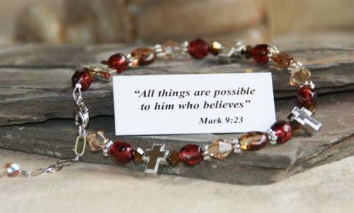 IN-228 Christian bracelet burgandy