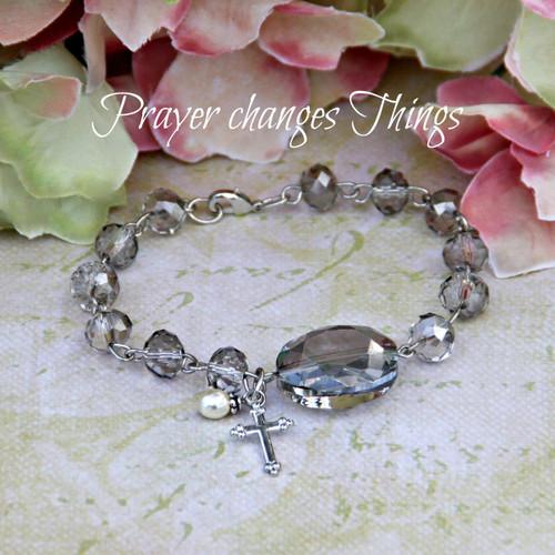 IN-127 Platinum crystal Prayer changes Things Bracelet