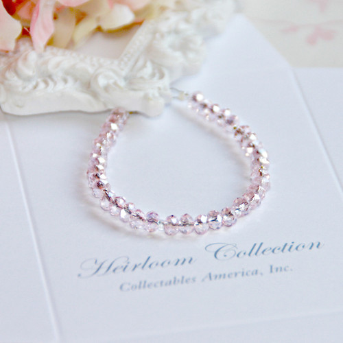 "CJ-380-6 Sparkle Soft Pink Crystal Bracelet 6"" size Beautiful!"