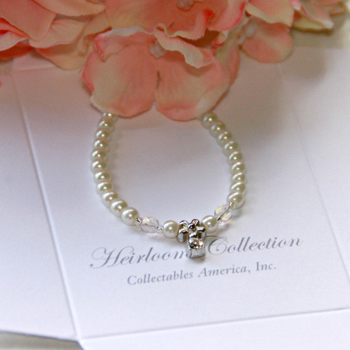 "CJ-388-6  Flower Girl Crystal and Glass Pearl 6"" Bracelet"