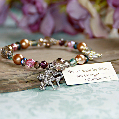 IN-148  for we walk by faith, not by sight- Beautiful Inspirational Bracelet