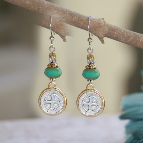 IN-37  St. Benedict Turquoise Crystal Earrings
