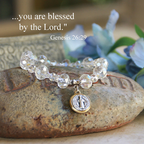 IN-142  St. Benedict Crystal AB Bracelet, Gorgeous!
