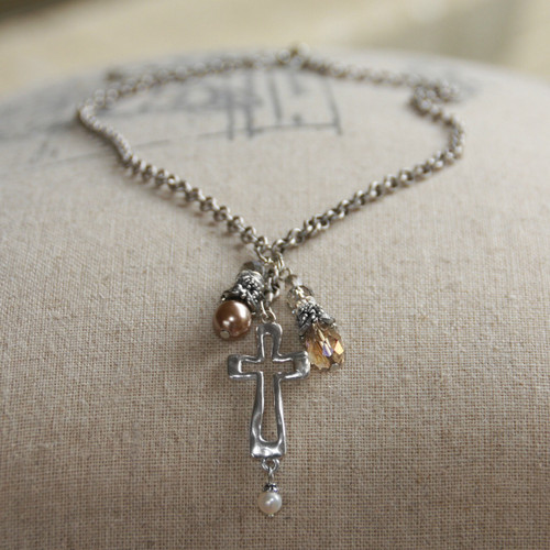 IN-519  In Style Cross Dangle Necklace