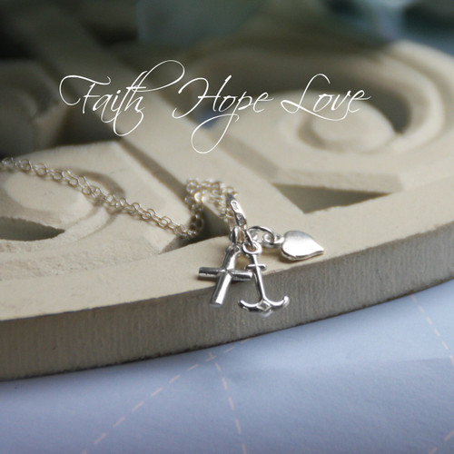 STG-60  Faith  Hope  Love Sterling Silver Necklace