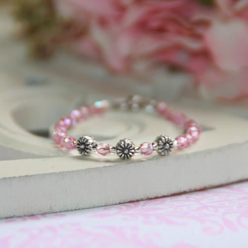 CJ-110  Infant Tiny Flowers Pink Crystals Bracelet