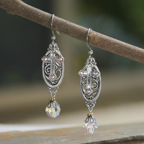 IN-58  Swarovski and Crosses Dangle Earrings