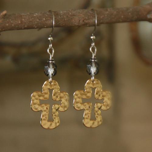 IN-62  Hammered Cross Dangle Earrings