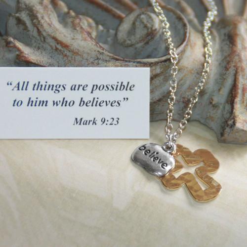 IN-531  Hammered Cross Believe Necklace