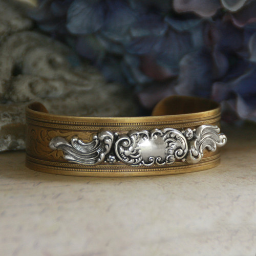 ART-152  Oh so Grand Scroll Work Cuff Bracelet Perfect for adding an Initial too!