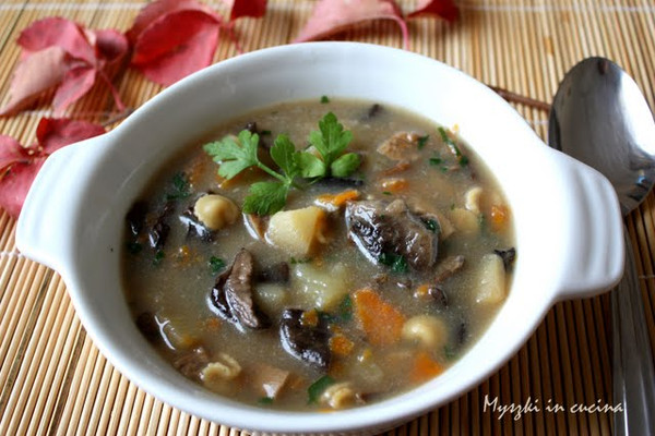 Mushroom soup tastes great served over boiled potatoes