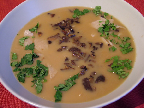 Mushroom Soup can be garnished with fresh chopped parshley