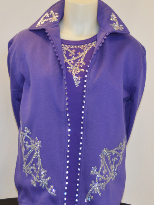 Purple Crystal Zipper Jacket