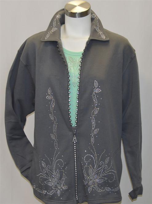 Grey Crystal Zipper Jacket