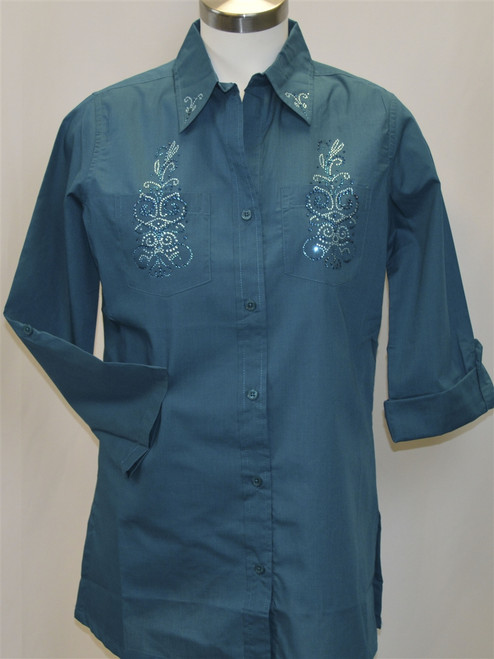 Teal Blouse with Aqua AB Crystals