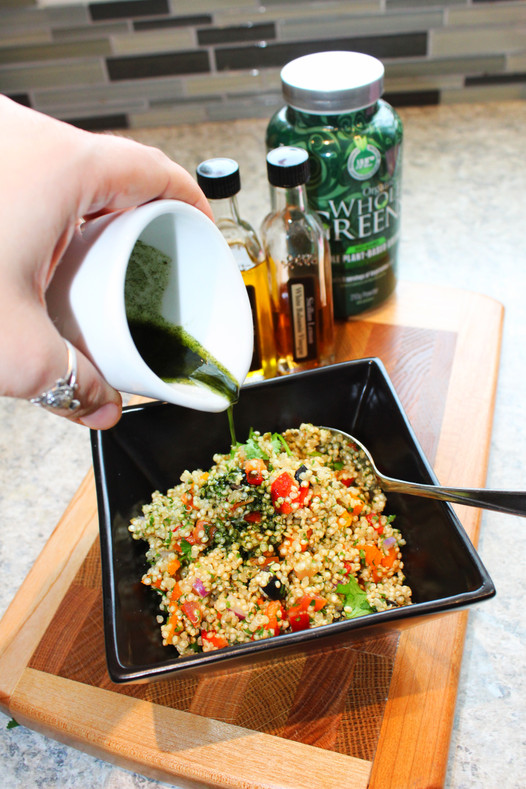 Quinoa Stuffed Peppers w/ Whole Greens Dressing