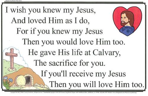 I Wish you Knew my Jesus