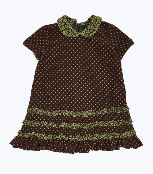 Brown Corduroy Short Sleeve Dress