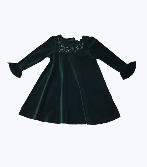 Holiday Green Velour Dress -Swirls & Stars