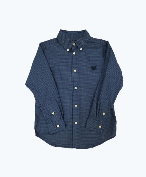 Boy Gingham Button Down Shirt - Blue & White