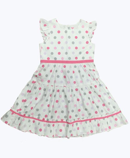SOLD - Polka Dots Flutter-Sleeve Dress