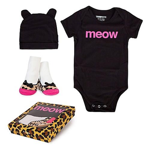 "Baby Girl 3-Piece ""Meow"" Bodysuit, Hat & Socks Gift Set"