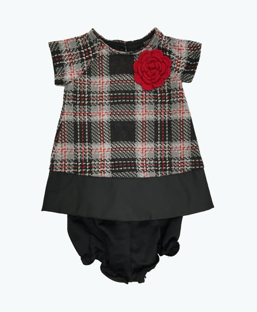 Red Knit Flower Dress