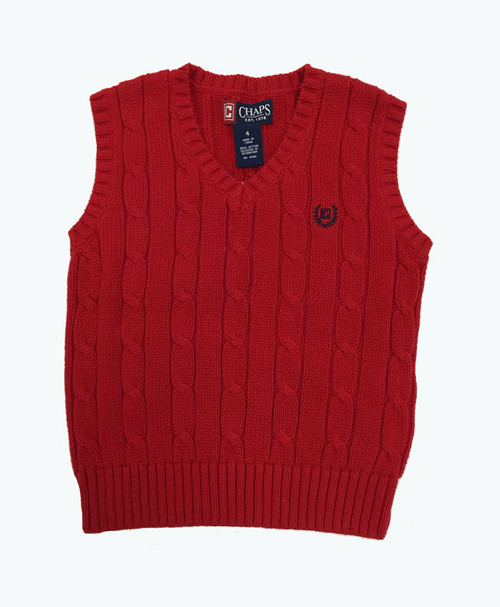 Red V-Neck Cable Knit Sweater Vest