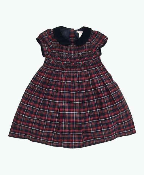 Red & Navy Smocked Plaid Dress