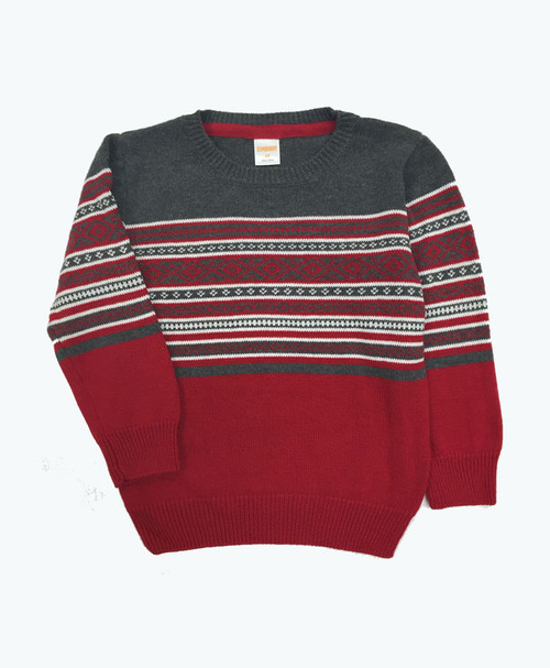 Red & Gray Fair Isle Sweater