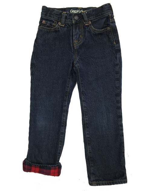 Plaid-Lined Straight Jeans