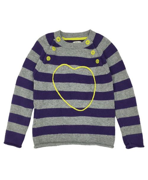 Purple Striped Heart Sweater
