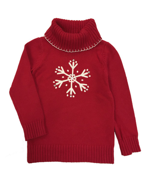 Red Snowflake Turtleneck Sweater