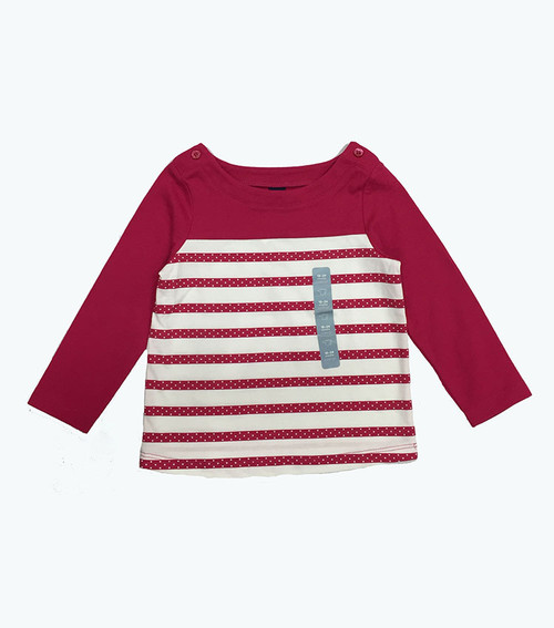 Raspberry Striped Long Sleeve Tee